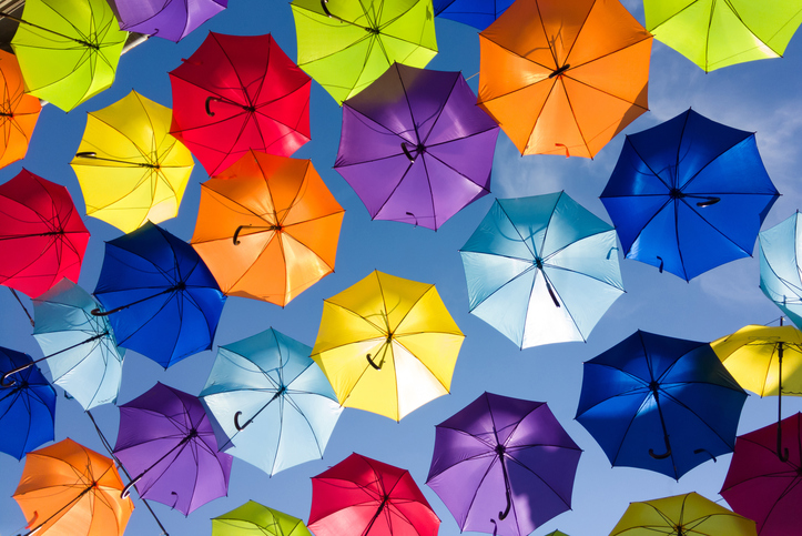 Colorful umbrellas in the sky, street decoration