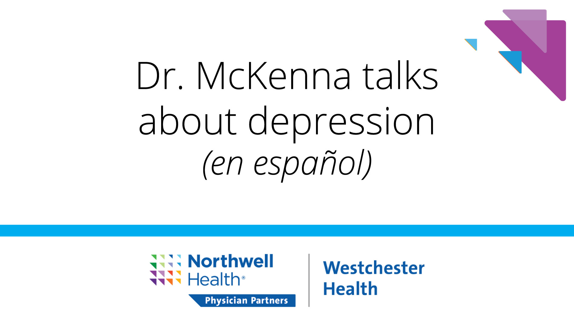 Dr McKenna talks about Depression title card